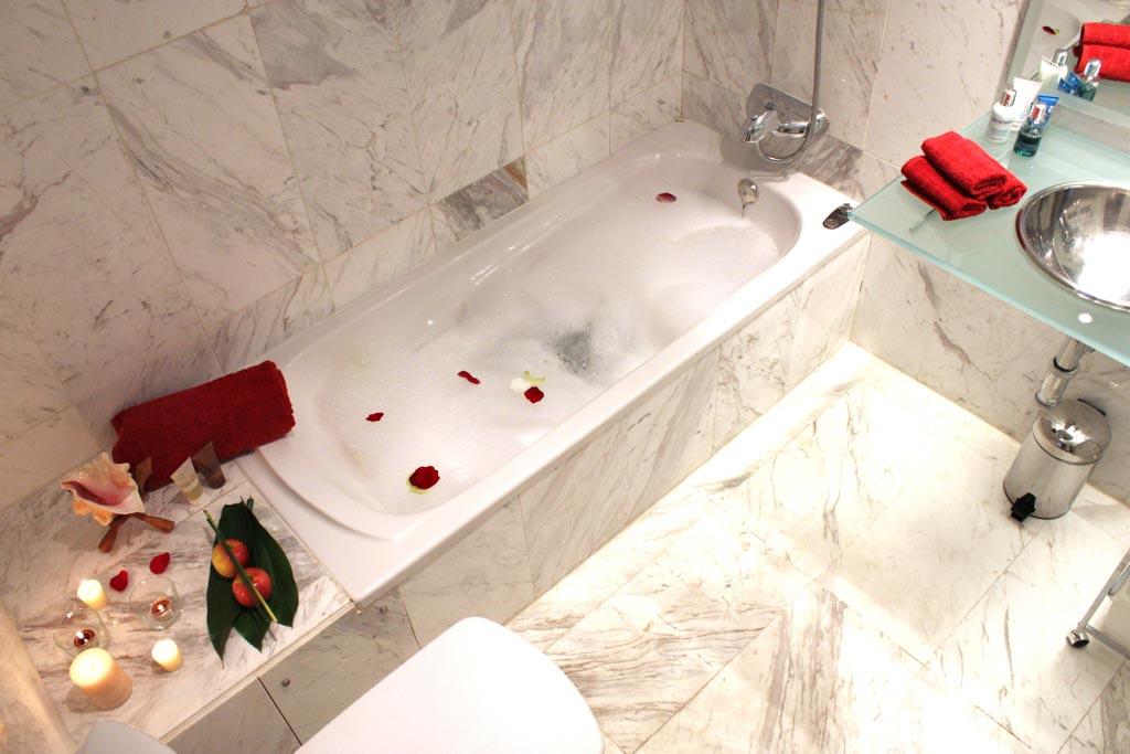 First Bathroom with bathtub & shower